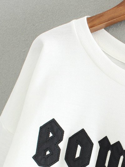 Letter Patch Round Neck Pullover Sweatshirt - WHITE ONE SIZE Mobile