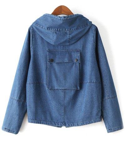 Zipped Hooded Denim Jacket - DEEP BLUE XL Mobile