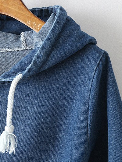 Zipped Hooded Denim Jacket - DEEP BLUE L Mobile