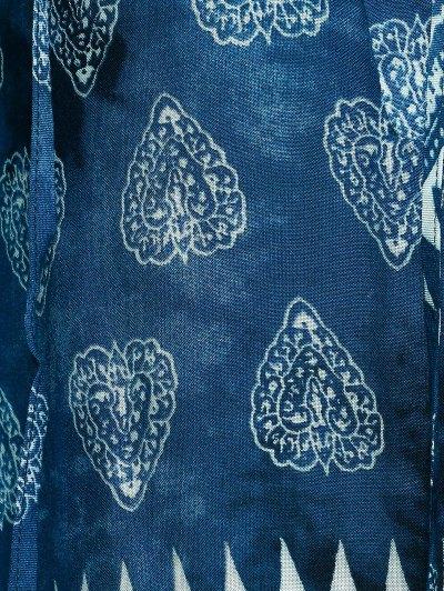 Elegant Plunging Neck Tribal Print Blouse - BLUE M Mobile