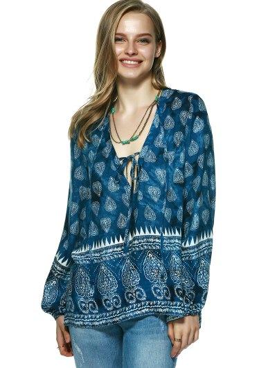 Elegant Plunging Neck Tribal Print Blouse - BLUE S Mobile