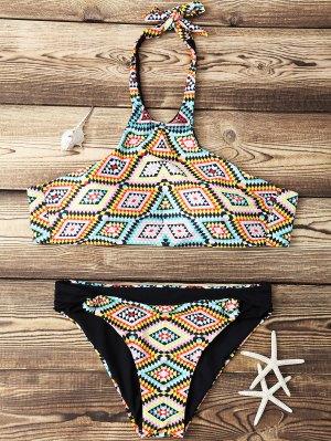 Argyle High Neck Bikini Set