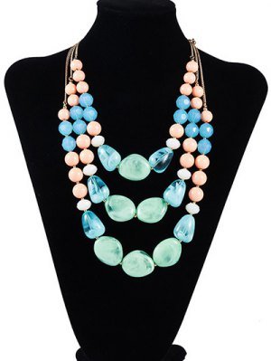Faux Stone Resin Geometric Multilayered Necklace