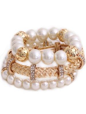 Faux Pearl Multilayer Bracelet - Golden