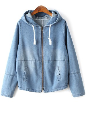 Zipped Hooded Denim Jacket - Light Blue