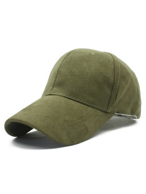 Solid Color Faux Suede Baseball Hat - Army Green