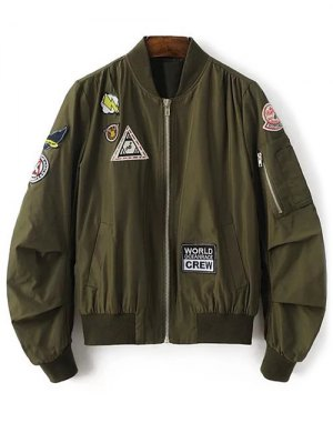 Patch Design Stand Neck Zipper Up Jacket - Army Green