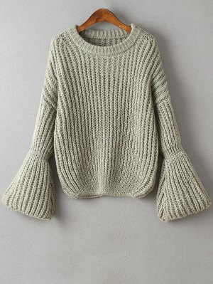 Bell Sleeve Chunky Sweater - Gray