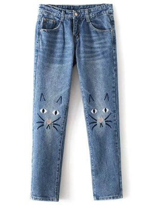 Pockets Cartoon Cat Embroidered Jeans - Azure