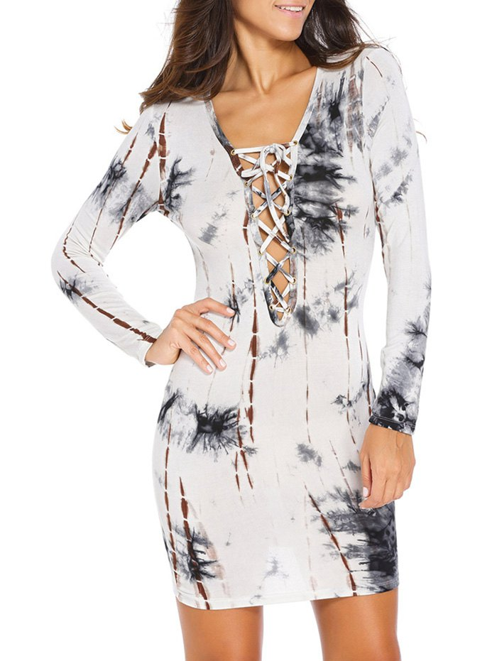 Plunging Neck Lace Up Printed Bodycon Dress