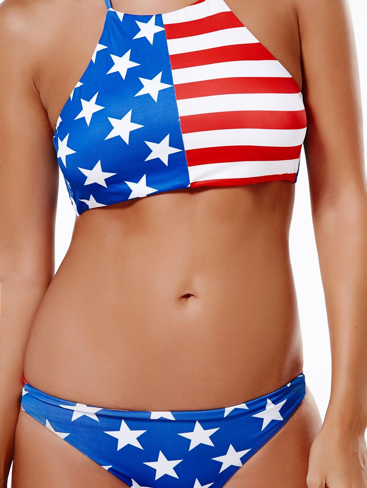 American Flag Print Halter Bikini Set