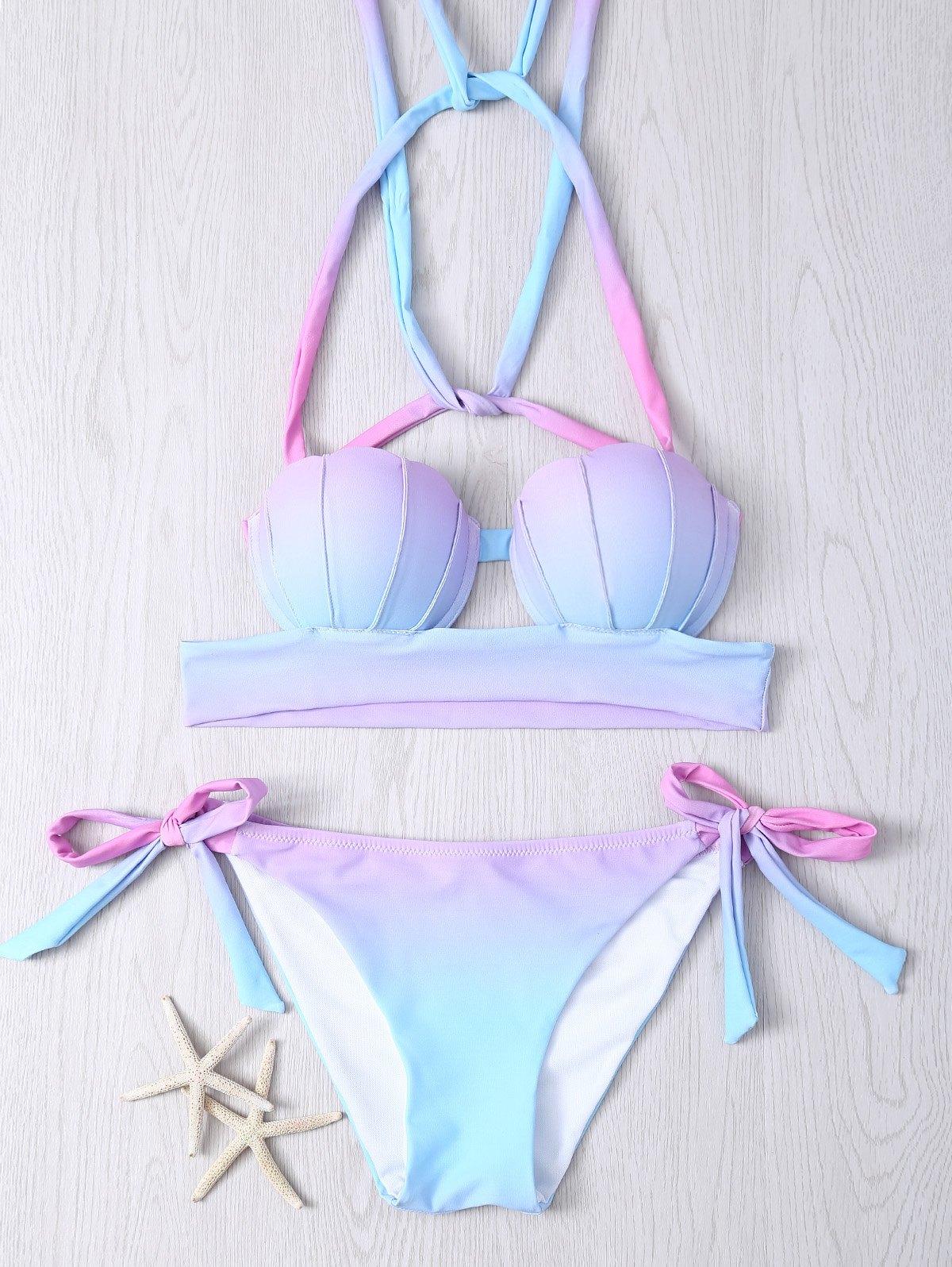 Women's Halter Gradient Color Lace Up Bikini Set