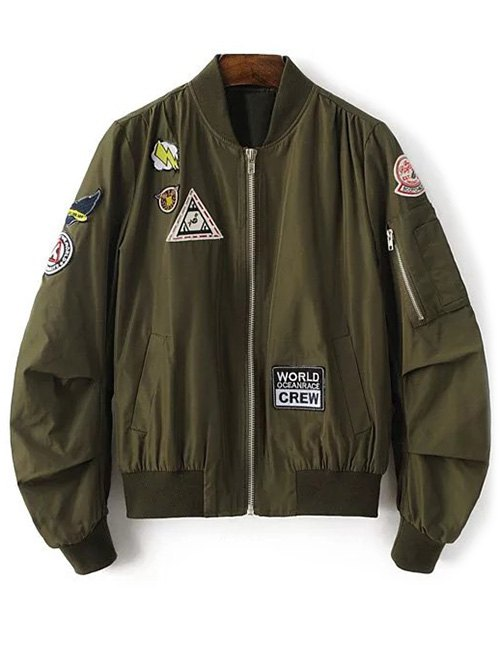 Patch Design Stand Neck Zipper Up Jacket