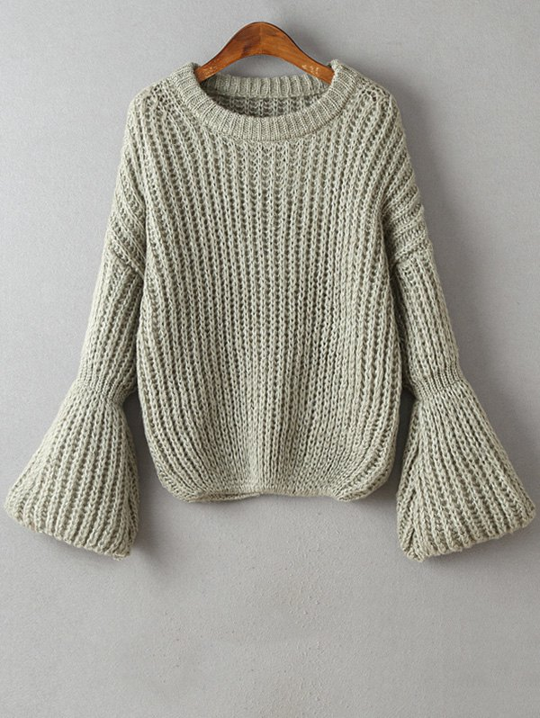 Round Neck Bell Sleeve Chunky Sweater