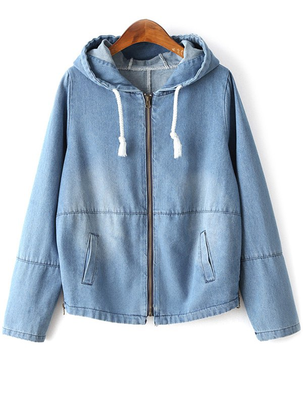 Zipped Hooded Denim Jacket
