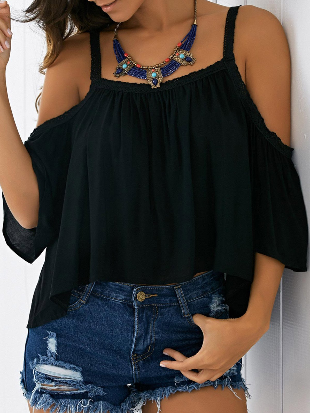 Spaghetti Straps Baggy Solid Color Cold Shoulder Blouse