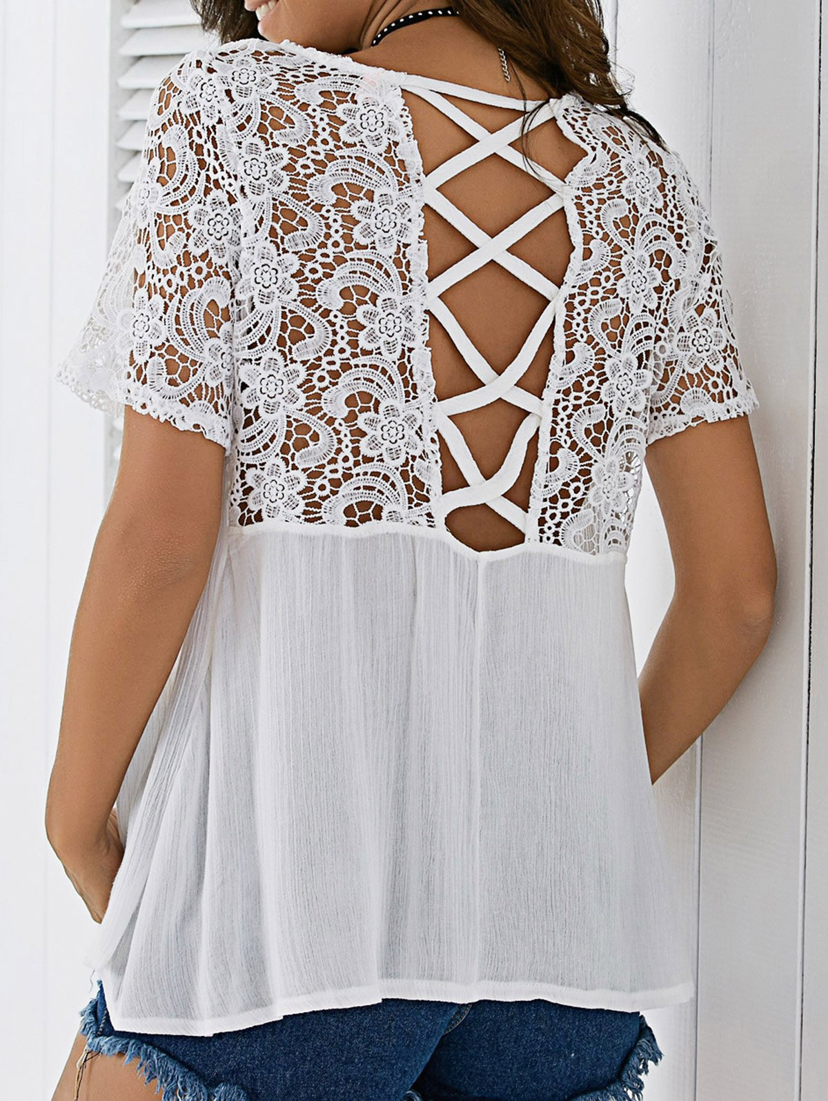 Lace Panel Criss Cross Blouse