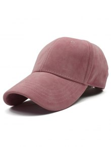 Adjustable Buckle Faux Suede Baseball Hat - Pink