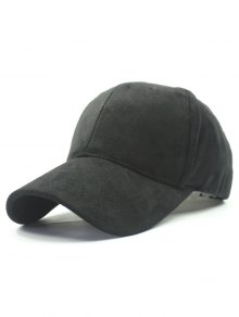 Solid Color Faux Suede Baseball Hat - Black