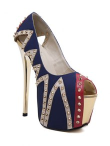 Rivet Platform Stiletto Heel Peep Toe Shoes - Blue 39