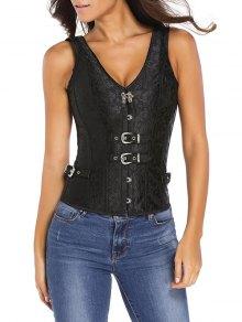 Jacquard V Neck Back Lace Up Corset - Black