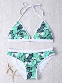Halter Leaf Printed Bikini Set - Green