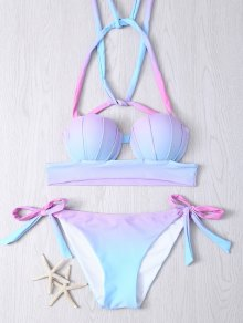 Halter Gradient Color Lace Up Women's Bikini Set