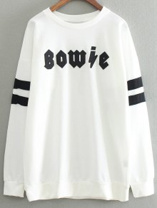 Letter Patch Round Neck Pullover Sweatshirt - White