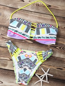 Print Strapless Hollow Out Bikini Set