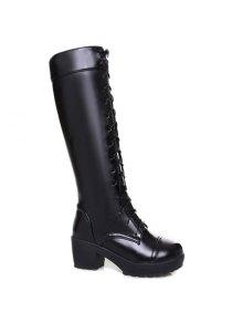Buy Stylish Front Lace-Up Chunky Heel Design Knee-High Boots Women - BLACK 39