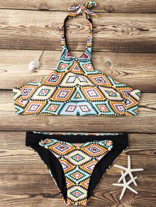 Argyle High Neck Bikini Set