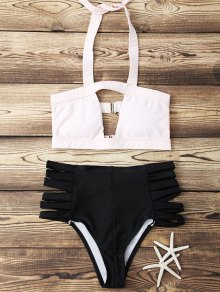 Halter Hit Color Bandage Bikini Set - Light Pink