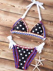 Polka Dot Stitched Halter String Bikini Set