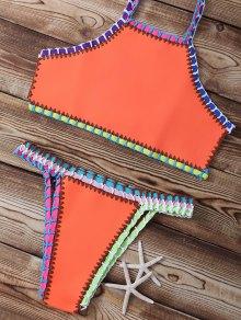 Trenzado De Cuello Alto Set Bikini - Naranja