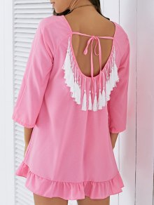 Backless Tassels Shift Dress - Pink