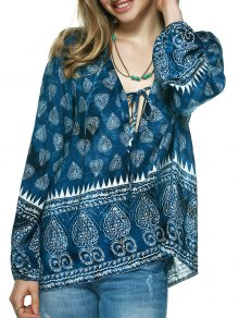 Elegant Plunging Neck Tribal Print Blouse