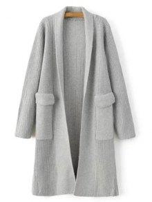 Buy Big Pocket Longline Cardigan ONE SIZE LIGHT GRAY