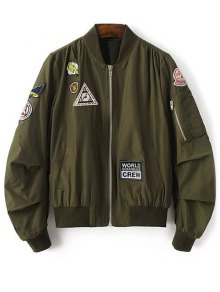 Patch Design Stand Neck Zipper Up Jacket - Army Green L