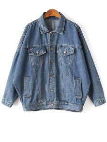 Batwing Sleeve Denim Boyfriend Jacket