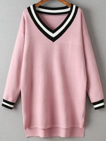 V-Neck Side Slit Sweater Dress - Pink