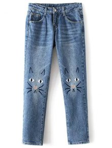 Pockets Cartoon Cat Embroidered Jeans