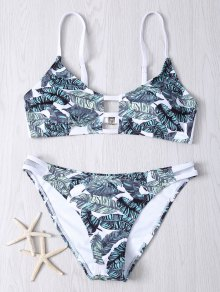 Hollow Out Leaves Print Bikini Set - M
