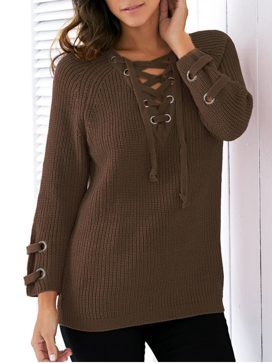 buy Lace Up V Neck Solid Color Sweater - BLACKISH GREEN ONE SIZE