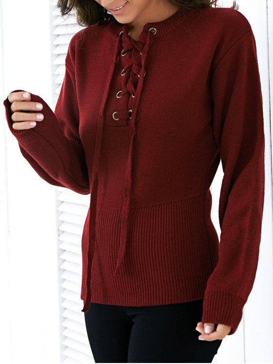 new Round Neck Solid Color Lace Up Sweater - WINE RED ONE SIZE