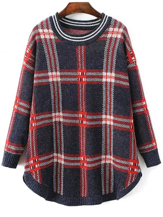 Checked Rounded Hem Sweater - COLORMIX ONE SIZE Mobile