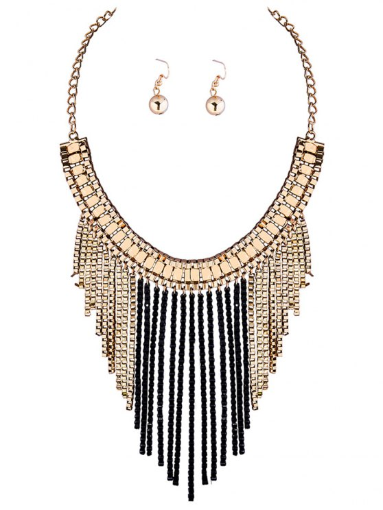 shop Fringed Necklace and Earrings - BLACK
