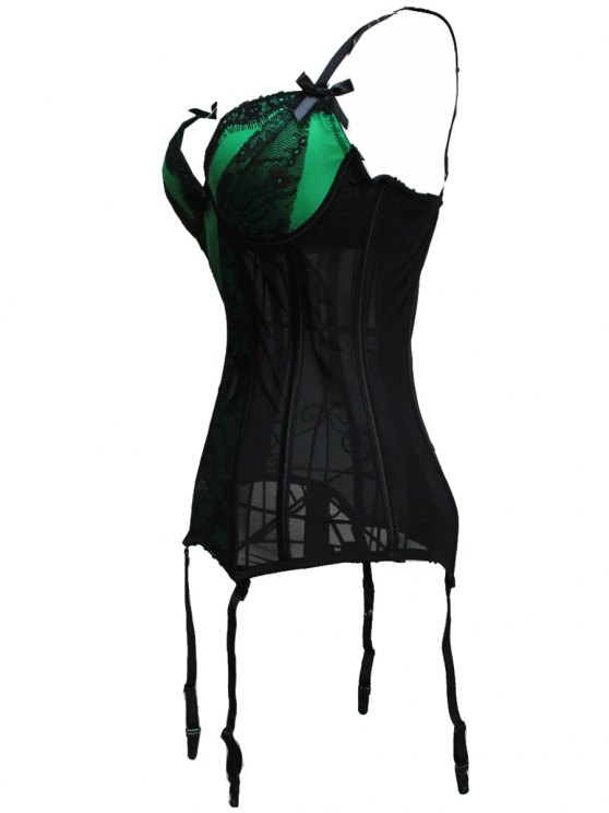 Bowknot Spaghetti Strap Lace Corset - GREEN L Mobile
