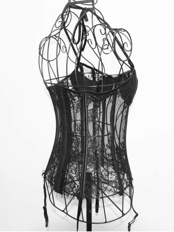 Halter Neck Laciness See Through Corset - BLACK S Mobile