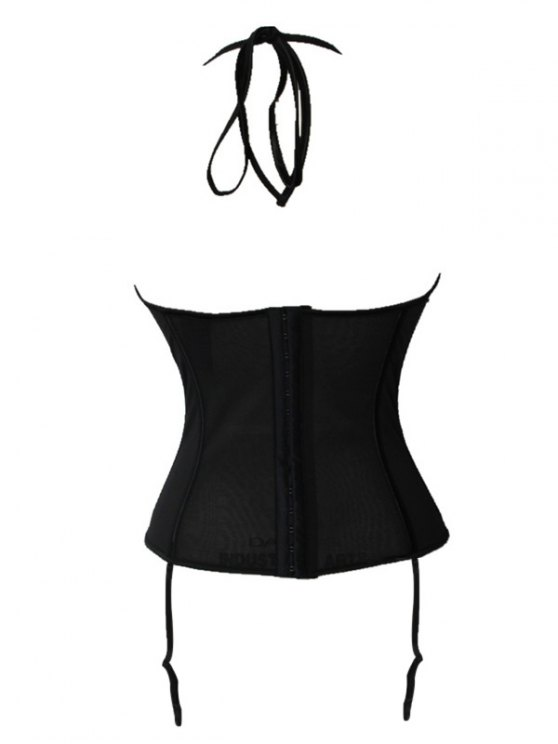 See Thru Backless Halter Neck Corset - BLACK 2XL Mobile