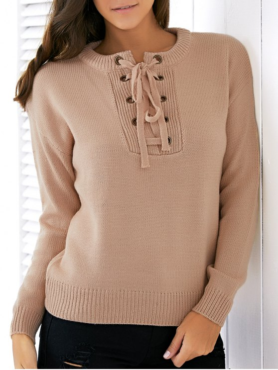 shops Lace Up Round Neck Solid Color Sweater - APRICOT ONE SIZE